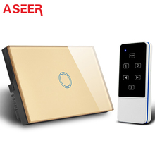 ASEER AU/US 1gang smart switch,RF433MHZ touch switch wall with remote control,AC110-240V, 1000W Remote Control Electrical Switch(Hong Kong)