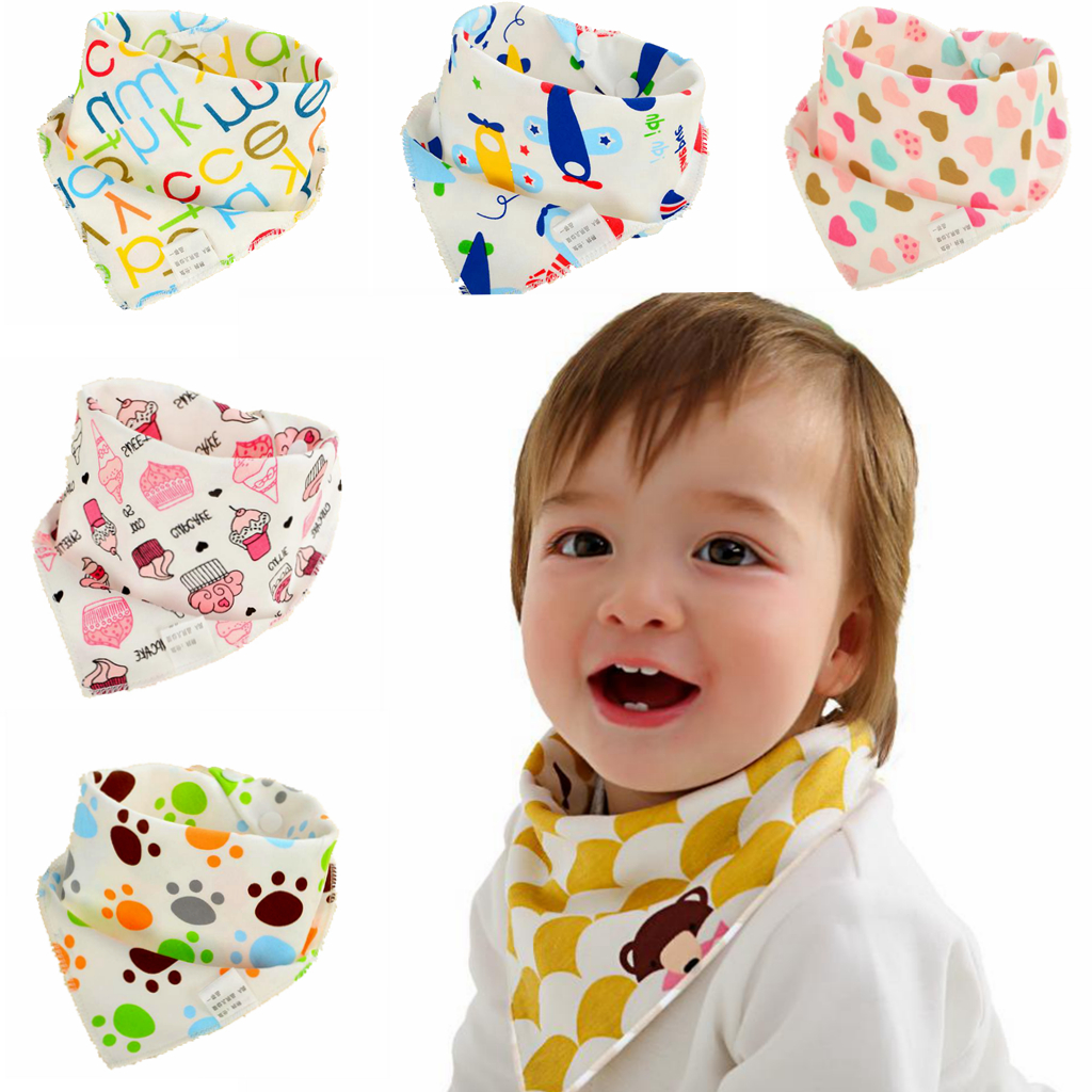 Baby Bibs Waterproof Triangle Cotton Cartoon Child Baberos Bandana Bibs Babador Dribble Bibs Newborn Slabber Absorbent Cloth(China)