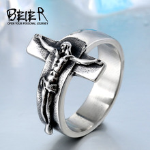 Beier Fashion Jesus Cross Ring 316L Stainless Steel Cool High Quality Rings Men Jewelry alibaba-express BR8-134