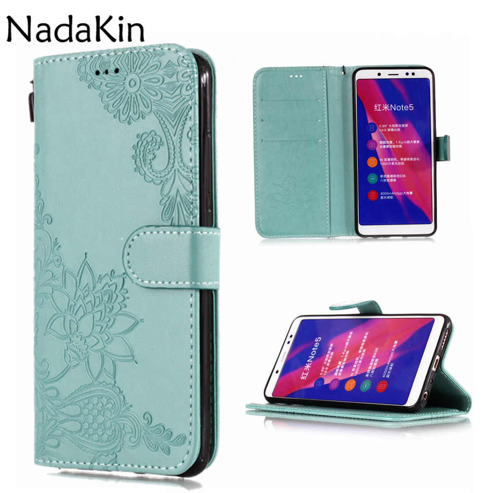 Lotus Dandelion Embossed Plain Book Case Shell For Xiaomi Mi 8 6 A2 Mix 2S Redmi S2 4A 4X 6 6A Note 4 5 5A Prime With Card Slot
