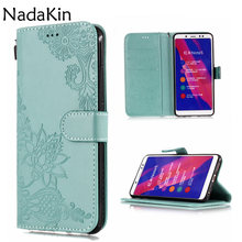 Lotus Dandelion Embossed Plain Book Case Shell For Xiaomi Mi 8 6 A2 Mix 2S Redmi S2 4A 4X 6 6A Note 4 5 5A Prime With Card Slot(China)