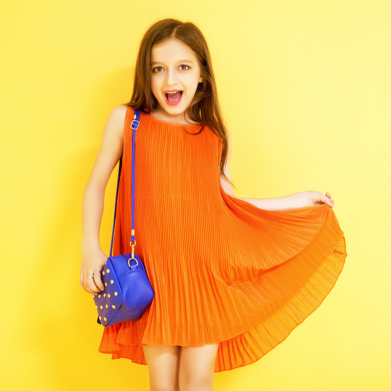 Girl Children Summer Chiffon Dress Teen Girls Sleeveless Orange Vest Dresses Cute Princess Pleated Dress Vestidos Elegant FD133<br>