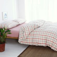 light pink plaid girls bedding sets 4 piece full size queen duvet cover 1.5m bed cover set free shipping(China)