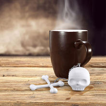 2016 New Arrival Cool Silicone T-Bones Bones Skull Infuser Loose Leaf Tea Strainer Filter Diffuser Drop Shipping