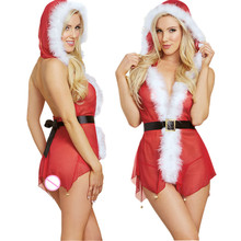 Buy Sexy Underwear 2018Christmas Lingerie Sexy Hot Erotic Adult Deep V Perspective Mesh Dress+Thong Red Mrs Santa Cosplay Costumes