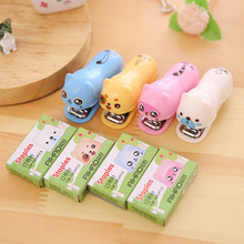 Candy Color Cute Animals Mini Stapler NO.10 Plastic Portable Kawaii Stapler Paper Office Accessories Mini Binder Stationary Set(China)