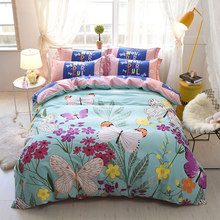 100% Cotton Fresh flowers Bedding Set Printed 4Pcs Duvet Cover set Bed Sheet Pillowcases Queen King size Fitted Sheet(China)
