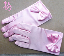 Kid child flower girl gloves short gloves white pink color party dancing performance gloves free shipping
