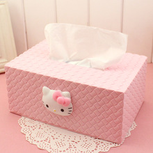 Hello kitty Parlor Room Tissue Boxes Car Napkin Tissue Case Toilet Bathroom Tissue Canister Paper box Removable ZJH18