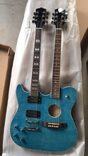 Arrival New Left Handed Double Neck Guitar 6 string electric guitar+6 string acoustic guitar in Blue burst 171021(China)