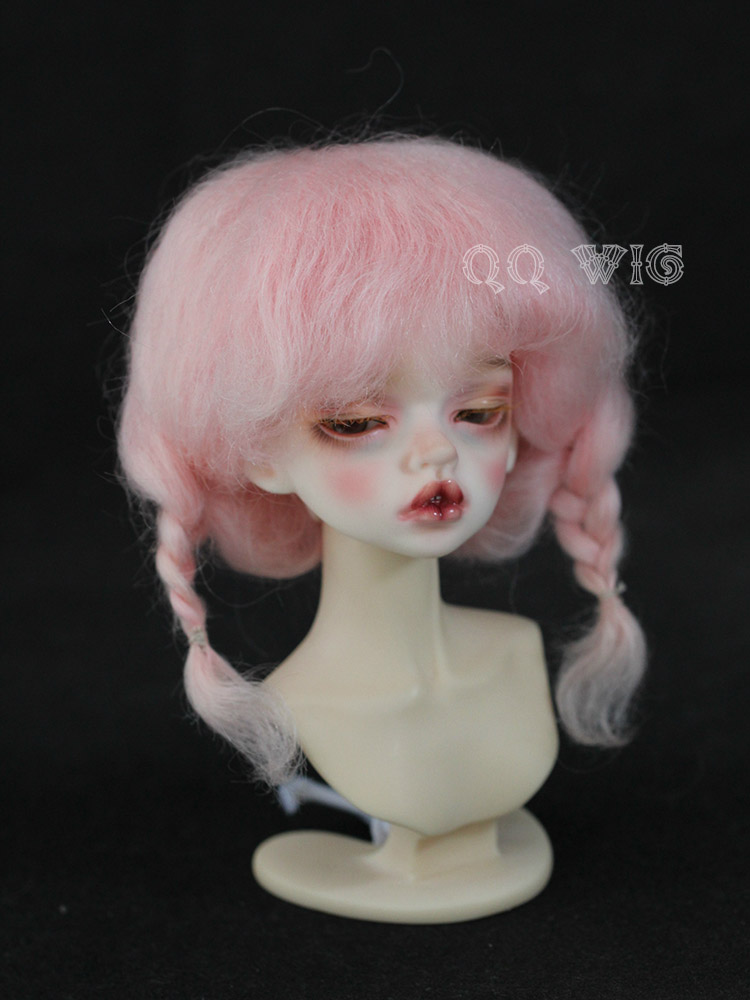 Free Shipping 2017 New Arrival 1/4 1/6 Bjd Wig Msd Sd Yosd Lovely Pink Two Braid Mohair Fashion Style Hair Wig <br>