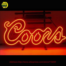 Coors Red Logo Neon Sign neon signs for bar Handcrafted Neon Bulbs Real Glass Tube Custom Lamp Bulb Resistor Flashlight 19x15(China)