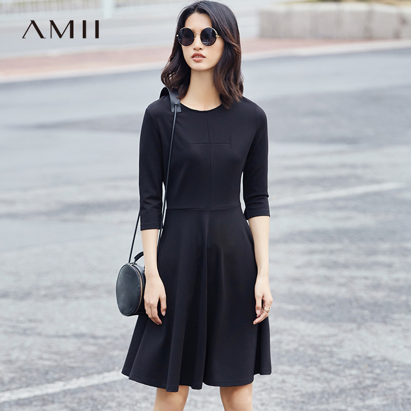 Amii Minimalist Casual Women Dress 2017 Solid A-Line O-Neck 3/4 Sleeve Knee Length Dresses