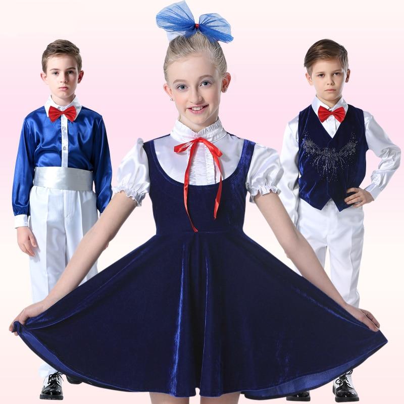 High Quality Children Festival Performances Suit Kids Social Dance Costume Wine Red/Blue/Purple/Black Boys Girls Chorus Clothing<br><br>Aliexpress