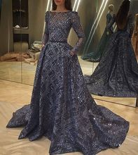 Glitter Prom Dresses Long Sleeve Boat Neck A-Line Bling Bling Blue Evening Prom Gowns Vestido de noche