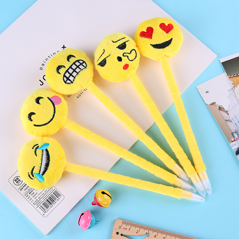 50pcs/lot South Korea stationery fashion cartoon ball point pen cute student gift wholesale Plush Emoji ball pen 0.5mm blue ink<br>