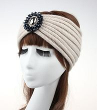 Wholesale wool knitted headwrap wide crochet headband- Handmade punk winter with rhinstone beads headband