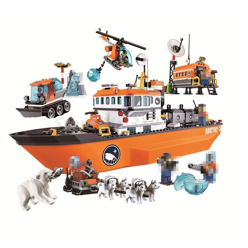 BELA 10443 City Polar Adventure Arctic Ice Breaker Ship Model Building Blocks Classic Bricks Toys For Children Birthday Gifts<br>