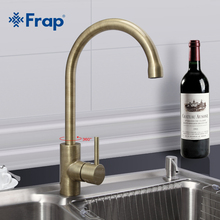 Frap New Arrival Retro Style Bronze Brushed Kitchen Faucet Cold and Hot Water Mixer Single Handle 360 Degree Rotation F4052-4(China)