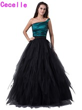Real Elegant Black Ball Gown Tulle Prom Dresses 2017 New One Shoulder Floor Length Corset Tiered Skirt Puffy Teens Party Gowns