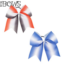 "7"" Fashion Ribbon Cheer Bow Big School Color Hair Bow With Elastic Tie For Cheerleading Girls Handmade Gift"