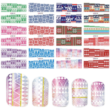New 12 Designs/Pcs Full Cover Water Nail Stickers Red/Pink/Blue/Purple/Green Nail Art Decals Simple DIY Nail Art Tip BEBN241-252