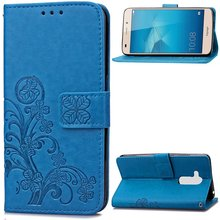 Clovers Phone Case For Huawei Honor 5C / 7 Lite 7lite Cases For Huawei GT3 Back Cover Leather Bag Wrist Strap Wallet Card Holder