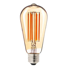 4PCS Retro Edison LED Filament Bulb E27 ST64 6W 2200K Warm Yellow AC 110-220V Dimmalbe Long Filament Bulb Amber Glass