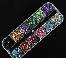 New Mix 12 Color 2mm Circle Beads Nail Art Tips Rhinestones Glitters Acrylic UV Gel Gems Decoration with Hard Case(China)