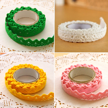 Free Shipping Cotton Lace Fabric White Crochet Lace Roll Ribbon Knit Adhesive Tape Sticker Craft Decoration Fabric 1pcs(China)