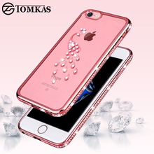 Tomkas Rhinestone Case For iPhone 8 7 Plus Silicone Case Transparent Glitter Diamond Case For iPhone 8 Plus Cover Coque Luxury(China)