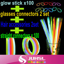 Discount package!! glow stick x 100+ straight connectors x 100 + glasses connectors x 2 set + Hair accessories x 2set,Party Fun(China)