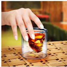 1pc good quality 75ml capacity creative skull glass cup popular transparent beer cup red wine cup in bar(China)