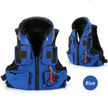 free shipping Safty Life Jacket with Durable Polyester Oxford cloth for Adult Water Sport Life Vest with Whistle(Blue)