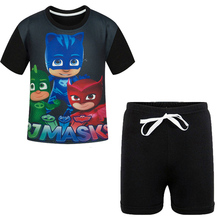 Cool Boys PJ MASK Clothing Sets Teens Children Cartoon Tracksuit Clothes Summer T Shirt + Cotton Shorts Kids Sports Clothes Suit