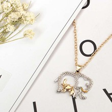 2017 fashion cute Double color elephant necklace joker animal sweater chain necklace free shipping