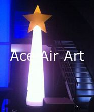 2.4 m High  Beautiful Inflatable Stage Decoration Lighting Inflatable Pillar with Star On Top