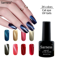Sarness 3D Cat Eye Gel Nail Polish Soak Off UV Gel Polish Professional Lucky Colors Magnetic Nail Gel Varnish Hybrid Lacquer(China)