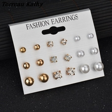 Terreau Kathy 9 Pairs/lot Crystal Pearl Stud Earrings Piercing Gold Color 2016 Fashion Earrings For Women Bijoux Jewelry Brincos