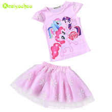 KEAIYOUHUO Children Clothes 2017 Summer Kids Girls Clothes Set T-Shirt+Tutu Skirt 2pcs Girl Sport Suit Toddler Girl Clothing Set