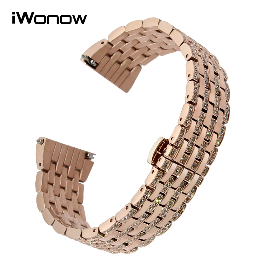 18mm Crystal Diamond Watchband for Huawei Watch / Fit Honor S1 Asus ZenWatch 2 Woman WI502Q Quick Release Band Steel Wrist Strap<br>