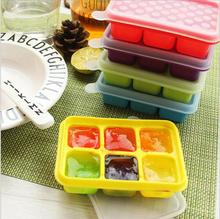 BPA Free Baby Food Container Storage 6 Grids Silicone Baby Food Supplement Tray Ice Cube Box with Lid 1 PC