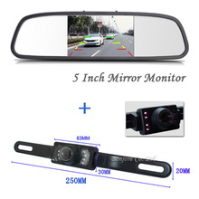 Newest 5-Inch HD Rear View Camera Mirror Monitor 800*480 DC 12V Car Monitor+ License Plate Parking IR LEDS Night Vision Camera