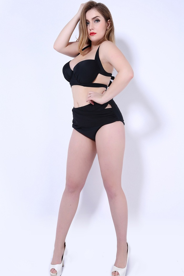 Women Plus Size High Waist Black Plain Swimsuit 2 Piece Suit Lady Sexy Backless Bathing Suit of Briefs Bottom Summer Beach Wear<br><br>Aliexpress