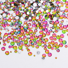 1Pack Mix Sizes Crystal Flame Rainbow Non Hotfix Flatback Glitter Nail Rhinestones Nails Accessories Nail Art Decorations Strass