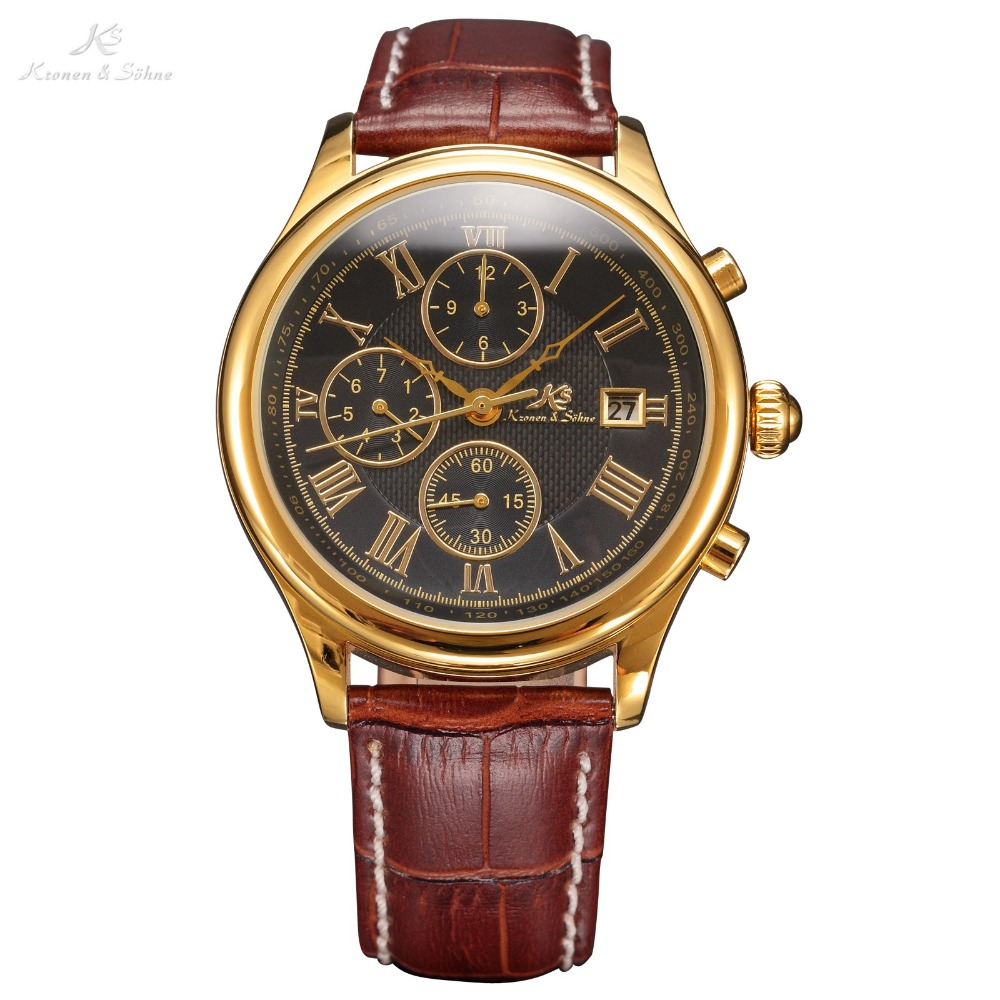 IMPERIAL KS Retro Skeleton 6 Hands Clear Mineral Glass Golden Case Calendar Brown Leather Strap Men Mechanical Watches / KS149<br>