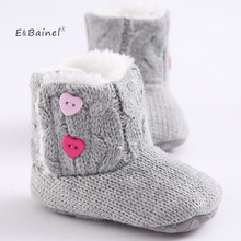 Winter Baby Snow Boots Warm Toddler Shoes Baby Girl Shoes Knitted Solid First Walker Infant Newborn Baby Shoes Footwear(China)