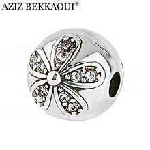 AZIZ High Quality European Flower Safety Stopper Beads Fit pandora Charms Bracelets Women Crystal Bead Clip Basic DIY Accessorie