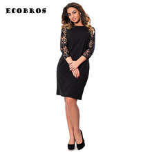 Buy ECOBROS Big size 6XL 2017 Spring Fat MM Woman Lace dress Elegant solid patchwork knee dresses plus size women clothing 6xl dress for $17.99 in AliExpress store