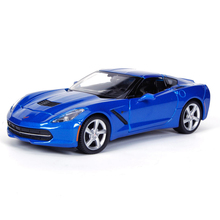Diecast Model Corvette C7 2014 Blue 1:24 Alloy Car Metal Racing Vehicle Play Collectible Models Sport Cars toys For Gift